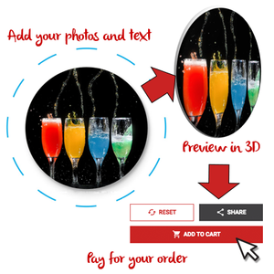 Create your custom button, preview, and pay for your order