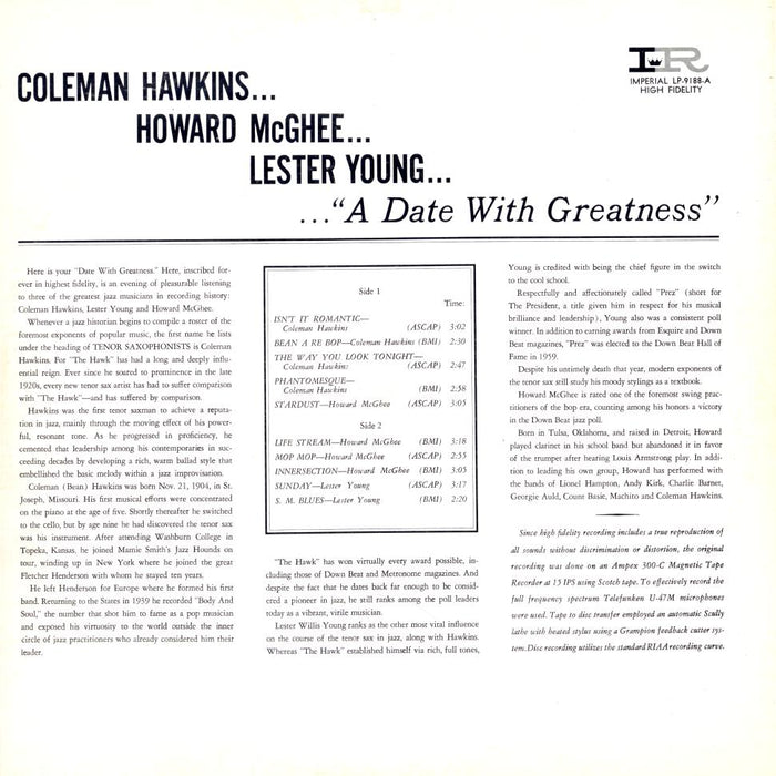 A Date With Greatness (1962, MONO)