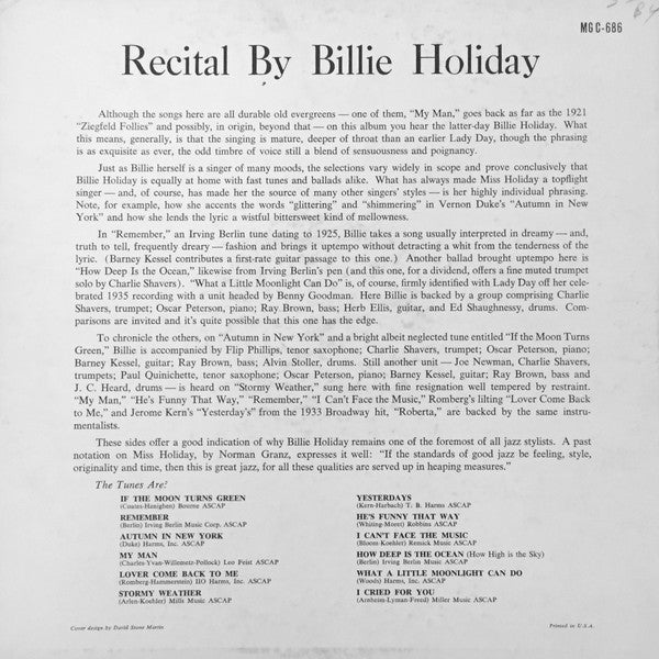 A Recital By Billie Holiday (1st, US Press)