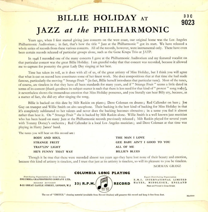 "At Jazz At The Philharmonic 10"" (UK, Columbia - Clef)"