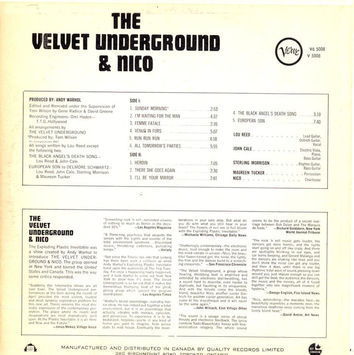 The Velvet Underground & Nico (1967 Canadian Press)