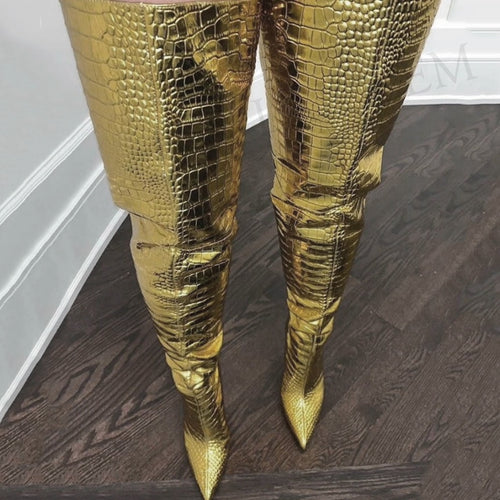 Thigh High Crocodile Boots