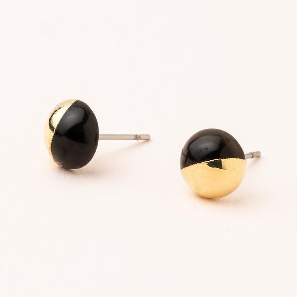 Dipped Stone Stud - Black Spinel/Gold