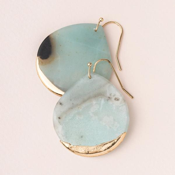Stone Dipped Teardrop Earring - Amazonite Stone of Courage/Gold