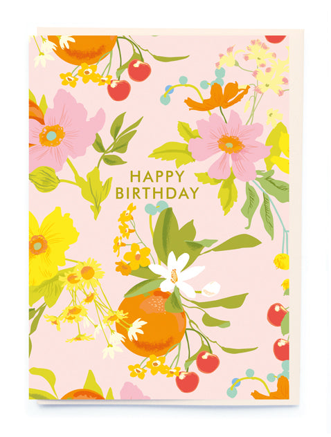 Pink Floral Happy Birthday Greeting Card