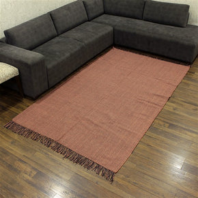 Craftter 2X3 Feet Handmade Dark Red Color Cotton Area Rugs Cotton Dari Carpet
