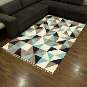 Craftter 4X6 Feet Handmade Super Soft Tringe Design Multi Color Polyster Area Rugs Polyster Dari Carpet
