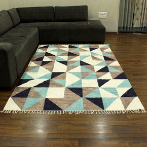 Craftter 5X8 Feet Handmade Super Soft Tringe Design Multi Color Polyster Area Rugs Polyster Dari Carpet