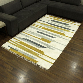 Craftter 2X3 Feet Handmade Super Soft Stripe Design Multi Color Polyester Area Rugs Polyester Dari Carpet