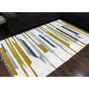 Craftter 3X5 Feet Handmade Super Soft Stripe Design Multi Color Polyster Area Rugs Polyster Dari Carpet