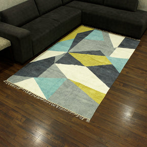 Craftter 5X8 Feet Handmade Super Soft Geometric Design Multi Color Polyster Area Rugs Polyster Dari Carpet