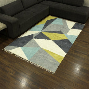 Craftter 2X3 Feet Handmade Super Soft Geometric Design Multi Color Polyester Area Rugs Polyester Dari Carpet