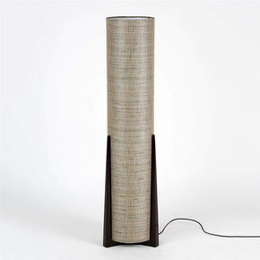 Craftter Handwoven Fabric Textured Cylindrical Wooden Floor Lamp (Dark Grey)