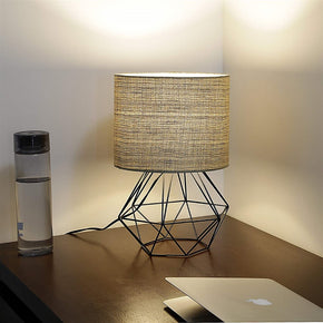Craftter Textured Khadi Fabric Shade Black Diamond Metal Base Decorative Night Bedside Small Table Lamp