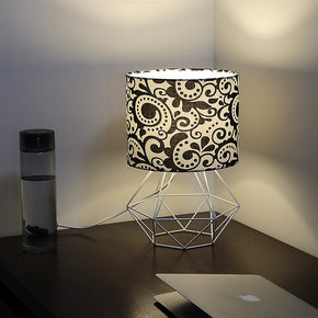Craftter Print Black Fabric Shade White Diamond Metal Base Decorative Night Bedside Small Table Lamp