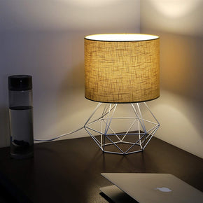 Craftter Textured Light Brown Fabric Shade White Diamond Metal Base Decorative Night Bedside Small Table Lamp
