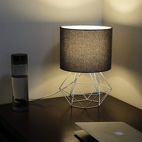Craftter Textured Black Fabric Shade White Diamond Metal Base Decorative Night Bedside Small Table Lamp