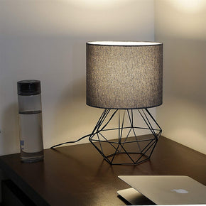 Craftter Textured Black Fabric Shade Black Diamond Metal Base Decorative Night Bedside Small Table Lamp