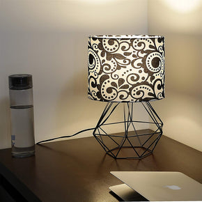 Craftter Print Black Fabric Shade Black Diamond Metal Base Decorative Night Bedside Small Table Lamp