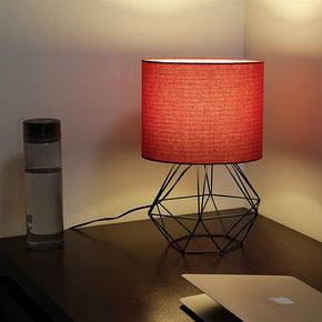 Craftter Red Fabric Shade Black Diamond Metal Base Decorative Night Bedside Small Table Lamp