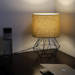 Craftter Textured Light Brown Fabric Shade Black Diamond Metal Base Decorative Night Bedside Small Table Lamp
