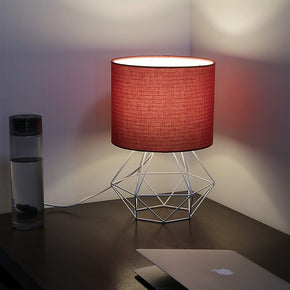 Craftter Red Fabric Shade White Diamond Metal Base Decorative Night Bedside Small Table Lamp