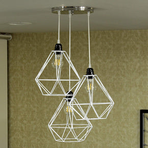 Craftter Set of 3 White Color Dimond Metal Hanging Lamp Pendant Light Decorative