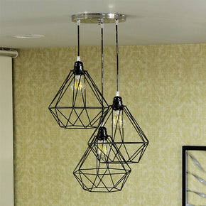 Craftter Set of 3 White Black Dimond Metal Hanging Lamp Pendant Light Decorative