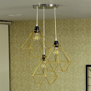 Craftter Set of 3 White Gold Dimond Metal Hanging Lamp Pendant Light Decorative