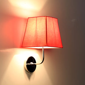 Craftter Plain Red Color Fabric Shade Square Wall Lamp Fixture