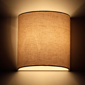 Craftter Textured Off White Color Fabric Half Shade Wall Lamp Fixture