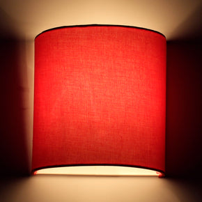 Craftter Red Color Plain Fabric Half Shade Wall Lamp Fixture