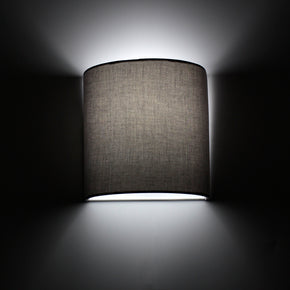 Craftter Plain Fabric Grey Color Half Shade Wall Lamp Fixture