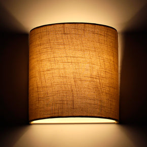 Craftter Textured Light Brown Fabric Half Shade Wall Lamp Fixture