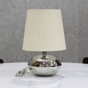 Craftter Textured Shade Nikil Finish Brass Base Table Decorative Night Bedside Lamp (Off White)