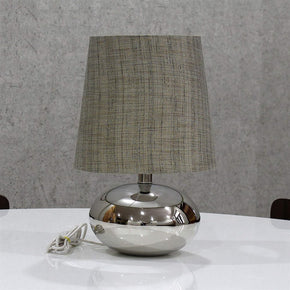 Textured Dark Khadi Shade Nikil Finish Brass Base Table Lamp Decorative Night Bedside Lamp