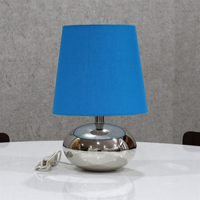 Blue Colour Shade Nikil Finish Brass Base Table Lamp Decorative Night Bedside Lamp