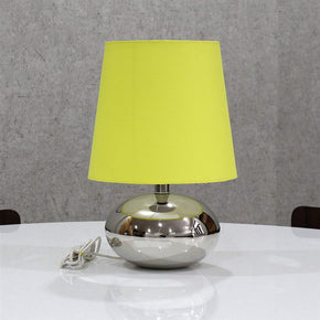 Yellow Colour Shade Nikil Finish Brass Base Table Lamp Decorative Night Bedside Lamp