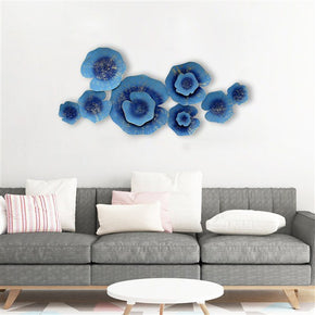 Craftter Lotous Leafs Blue Color Metal Wall Art Sculpture Home Decor Wall Hanging