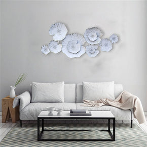 Craftter Lotus Leafs White Color Metal Wall Art Sculpture Home Decor Wall Hanging