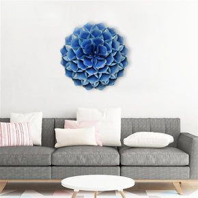 Craftter 3D Folded Leafs Blue Color Metal Wall Art Sculpture Home Decor Wall Hanging