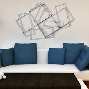 Craftter Extra Large 3D Rectangles Silver Metal Wall Art Decorative Wall Sculpture