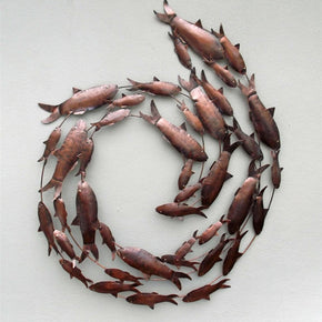 Craftter Metal Handcrafted Fish Circle Antique Wall Art Sculpture(75x55cm, Copper Brown)