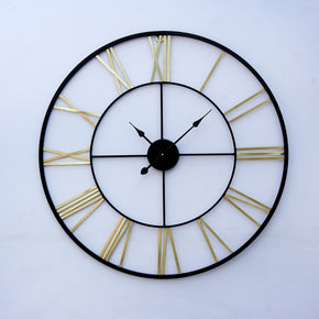 Craftter Black And Gold Medium Handmade Wall Clock Metal Wall Art Sculpture Wall Decor And Hanging (55 cm)