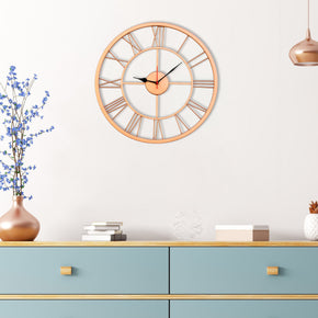 Craftter Handmade 16 inch Metal Wall Clock 400mm Elegant Retro Skeleton Timepiece with Live Roman Numerals(Copper)