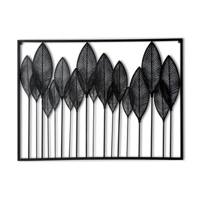 Craftter Sobal Black Leaves Metal Wall Décor Hanging Large Wall Sculpture Art