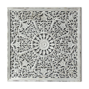 Craftter Antique White Color Handcarving on Wood Wall Décor Hanging Large Wall Sculpture Art