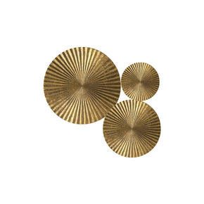 Craftter Set of 3 Bright Gold Color Circles Metal Wall Décor Hanging Large Wall Sculpture Art