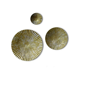 Craftter Set of 3 Bright Gold and Silver Color Circles Metal Wall Décor Hanging Large Wall Sculpture Art