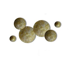 Craftter Small Set of 6 Bright Gold and Silver Color Circles Metal Wall Décor Hanging Large Wall Sculpture Art
